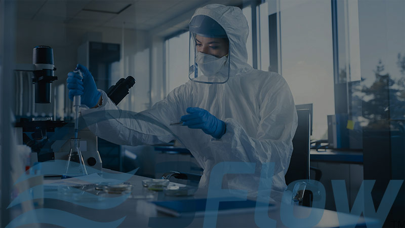 Female scientist working in a lab with dark overlay and 3Flow logo