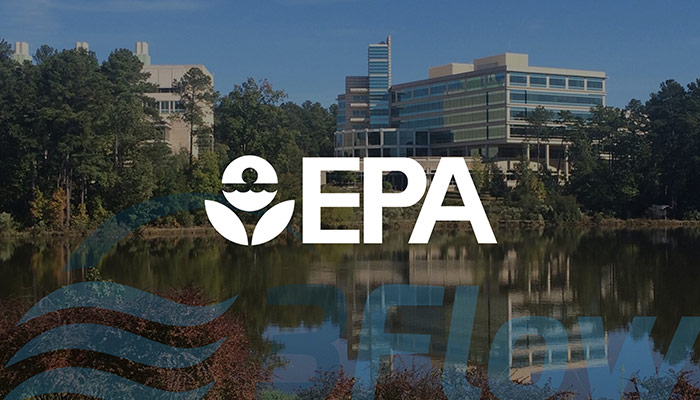 EPA logo over darkened photo of their building